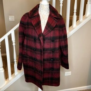 NWT COACH Plaid Burgundy Black Wool Peacoat